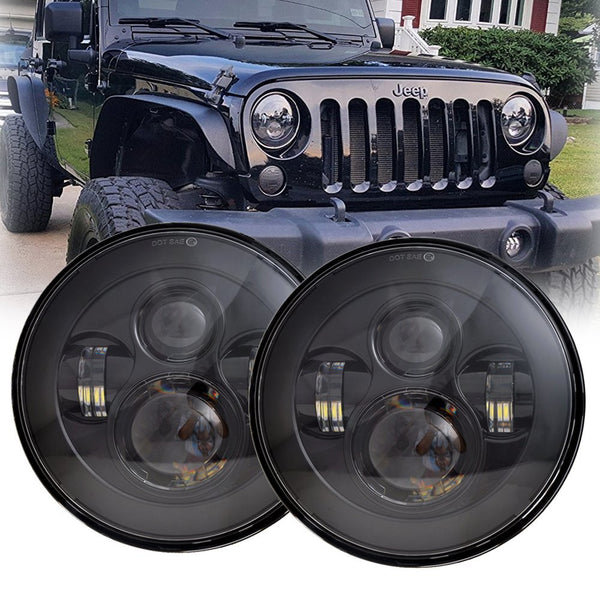 LX-LIGHT 7'' Round Black LED Headlight High Low Beam for Jeep Wrangler JK TJ LJ CJ