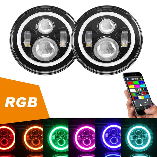 "7"" LED Headlights RGB Halo with Bluetooth Remote"