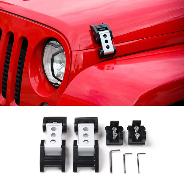 Black Stainless Steel Latch Locking Hood Catch Kit for 2007-2017 Jeep Wrangler