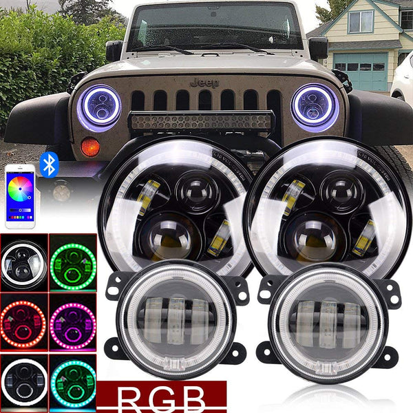 DOT Approved Pair 7Inch Led Round Headlights RGB Halo Turn signal Hi/Lo