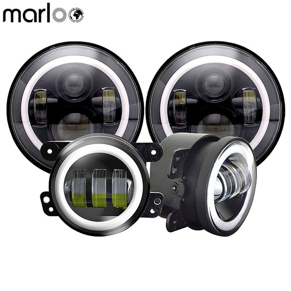 7 Inch LED Halo Headlights + 4 Inch LED Fog Light