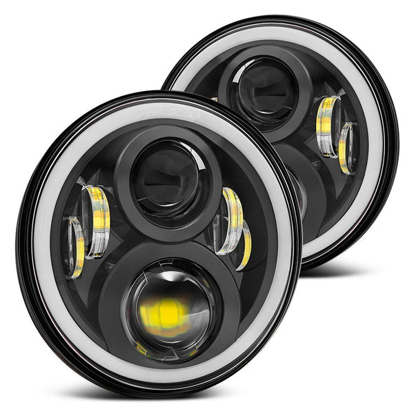 7Inch Round Project Daymaker LED Headlights RGB Halo