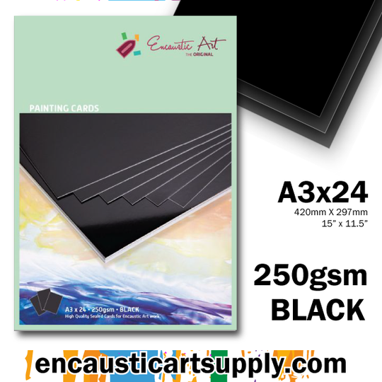 Encaustic Art A3 Painting Cards - Black