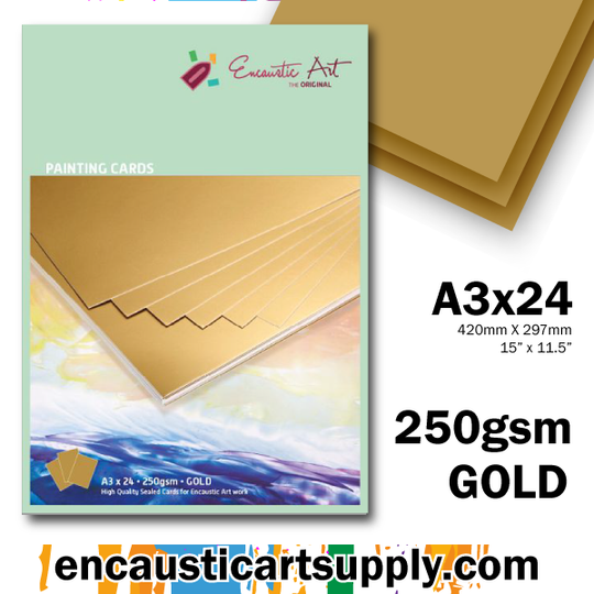 Encaustic Art A3 Painting Cards - Gold
