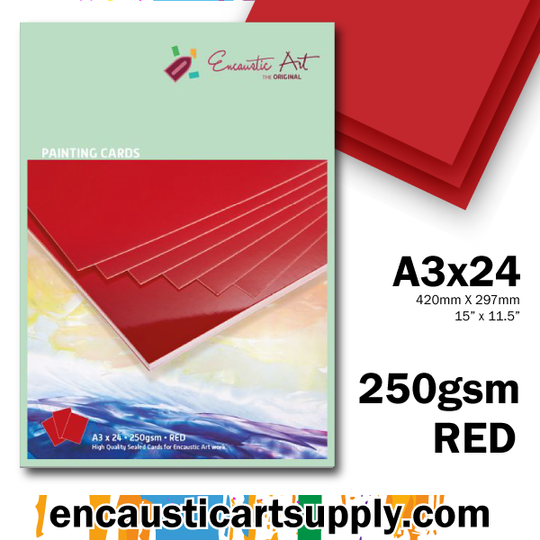 Encaustic Art A3 Painting Cards - Red