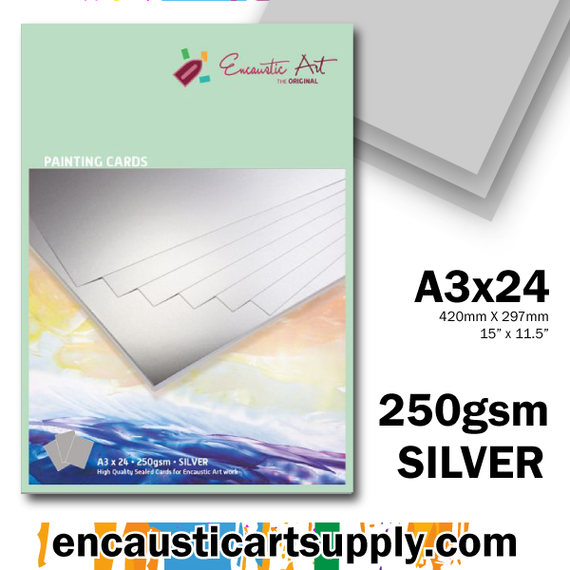 Encaustic Art A3 Painting Cards - Silver