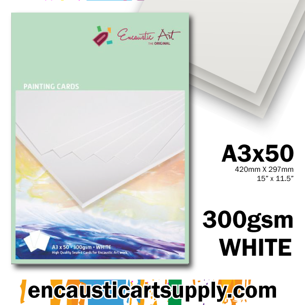 Encaustic Art Painting Cards A3 - white