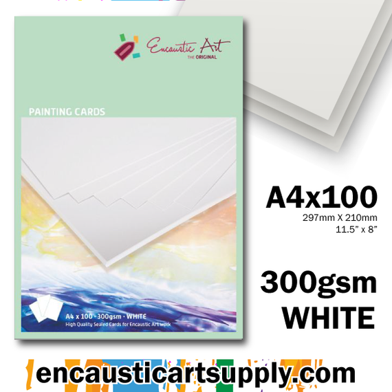 Encaustic Art Painting Cards A4 - white