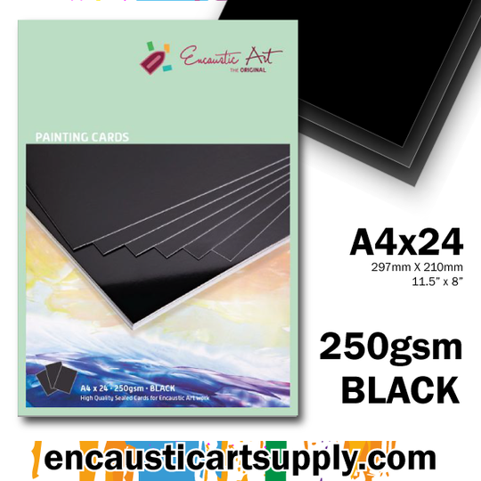 Encaustic Art A4 Painting Cards - Black