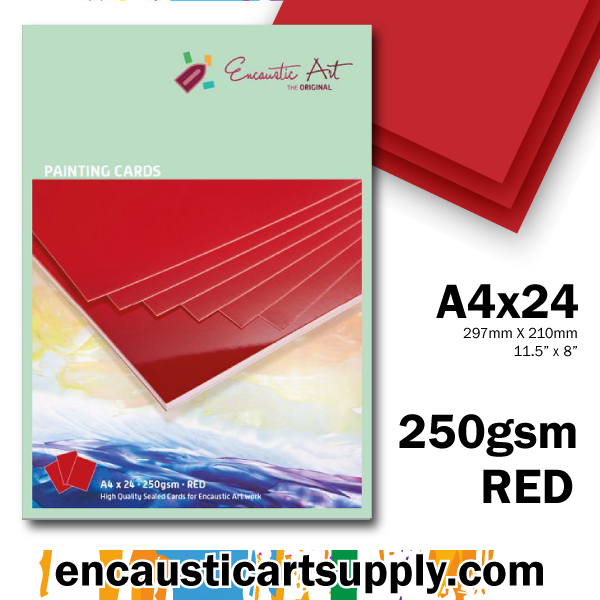 Encaustic Art A4 Painting Cards - Red