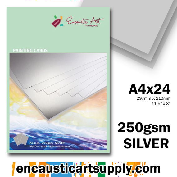 Encaustic Art A4 Painting Cards - Silver