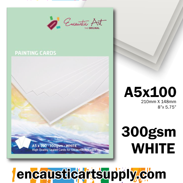 Encaustic Art Painting Cards A5 - white