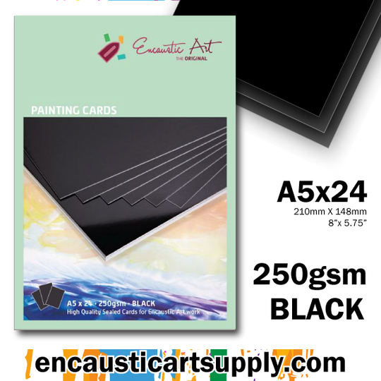 Encaustic Art A5 Painting Cards - Black