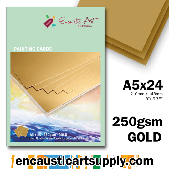 Encaustic Art A5 Painting Cards - Gold