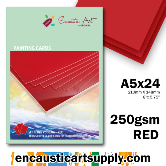 Encaustic Art A5 Painting Cards - Red