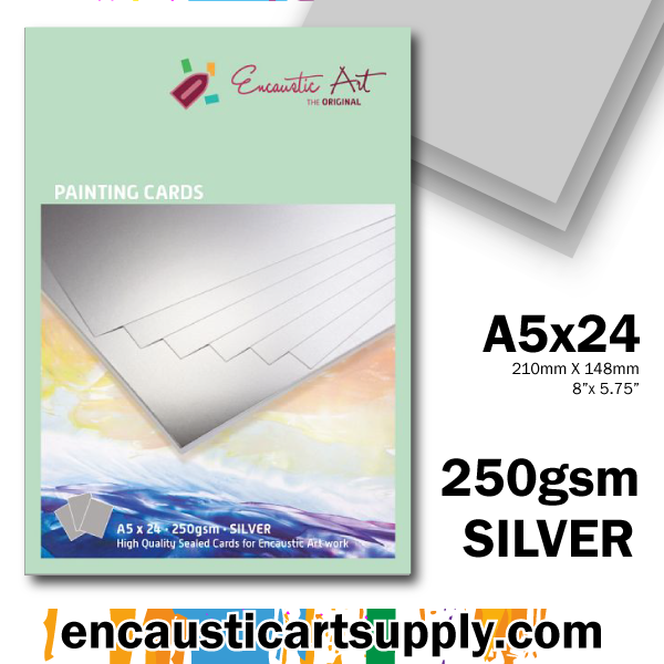 Encaustic Art A5 Painting Cards - Silver