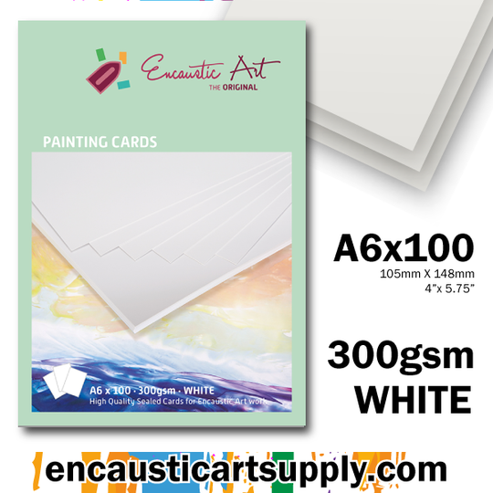 Encaustic Art Painting Cards A6 - white