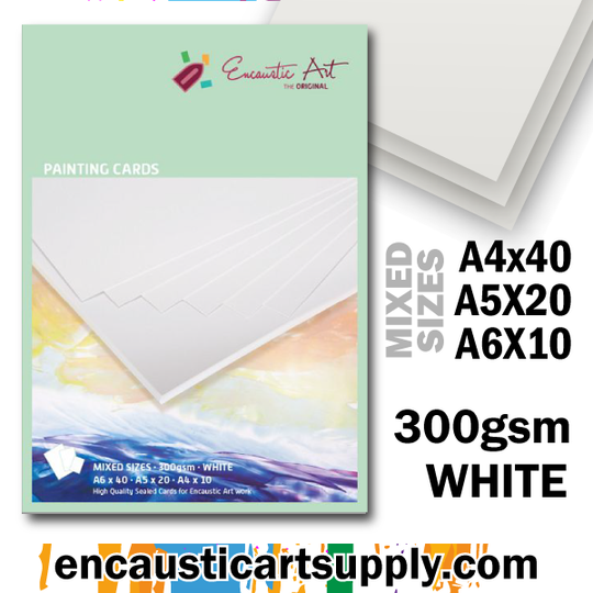 Encaustic Art Painting Cards - Mixed Sizes - white