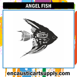 Encaustic Art Rubber Stamp - Angel Fish