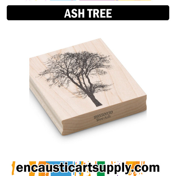 Encaustic Art Rubber Stamp - Ash Tree