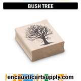 Encaustic Art Rubber Stamp - Bush Tree