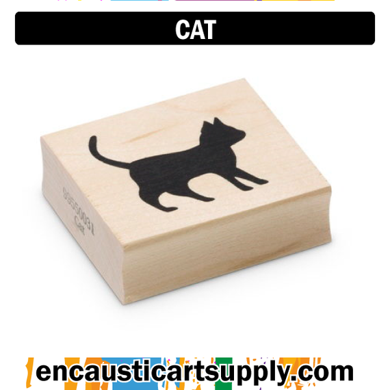 Encaustic Art Rubber Stamp - Cat