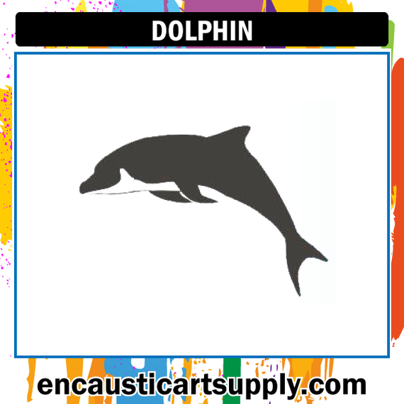 Encaustic Art Rubber Stamp - Dolphin