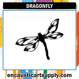 Encaustic Art Rubber Stamp - Dragonfly