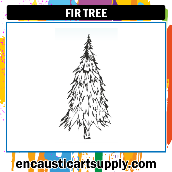 Encaustic Art Rubber Stamp - Fir Tree