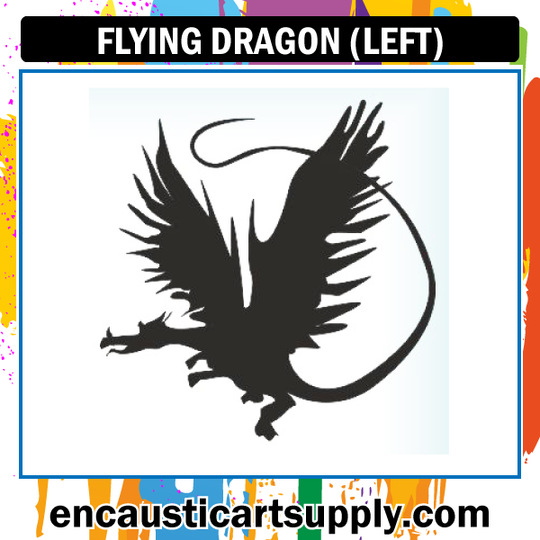 Encaustic Art Rubber Stamp - Dragon Flying (Left)