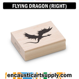 Encaustic Art Rubber Stamp - Dragon Flying (Right)