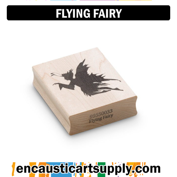 Encaustic Art Rubber Stamp - Flying Fairy