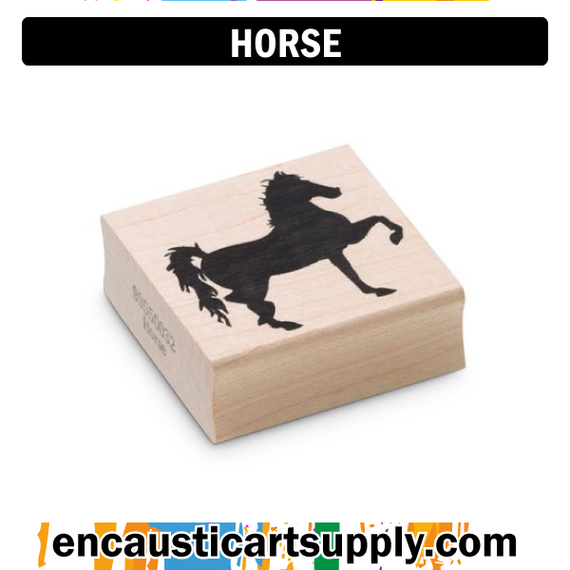 Encaustic Art Rubber Stamp - Horse