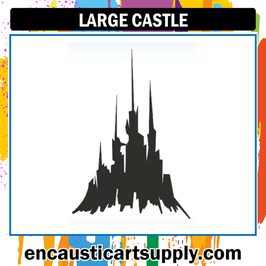 Encaustic Art Rubber Stamp - Large Castle