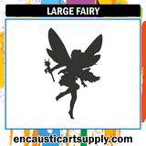 Encaustic Art Rubber Stamp - Large Fairy