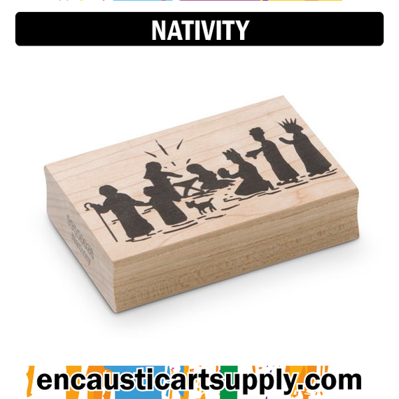 Encaustic Art Rubber Stamp - Nativity