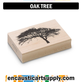 Encaustic Art Rubber Stamp - Oak Tree