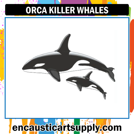 Encaustic Art Rubber Stamp - Killer Whales