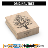 Encaustic Art Rubber Stamp - Tree
