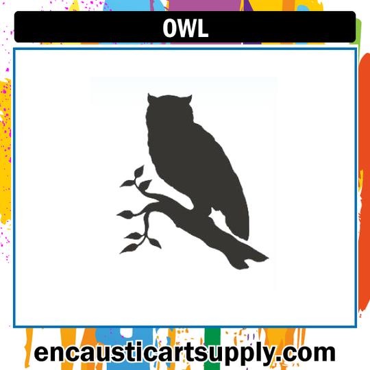 Encaustic Art Rubber Stamp - Owl