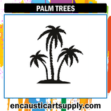 Encaustic Art Rubber Stamp - Palm Trees
