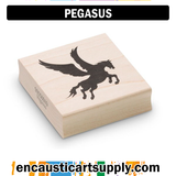 Encaustic Art Rubber Stamp - Pegasus