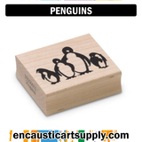 Encaustic Art Rubber Stamp - Penguins