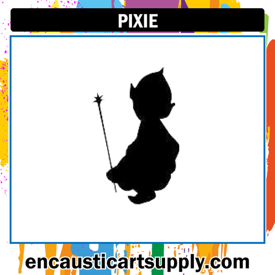 Encaustic Art Rubber Stamp - Pixie