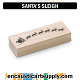 Encaustic Art Rubber Stamp - Santa's Sleigh