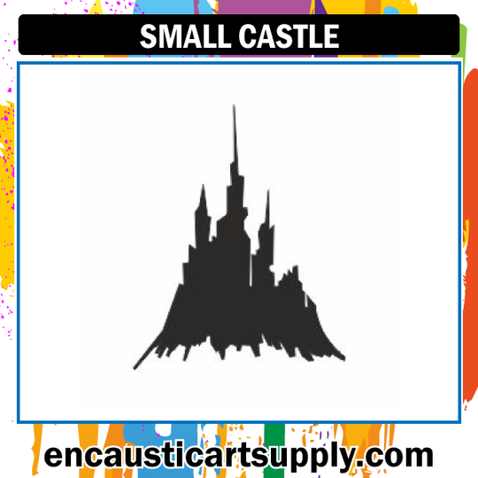Encaustic Art Rubber Stamp - Small Castle