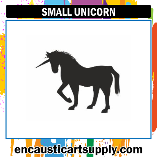 Encaustic Art Rubber Stamp - Small Unicorn