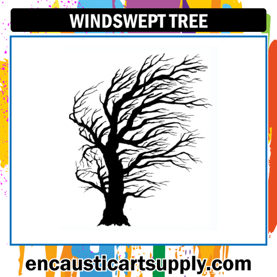 Encaustic Art Rubber Stamp - Windswept Tree