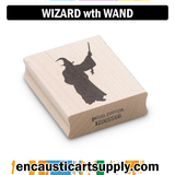 Encaustic Art Rubber Stamp - Wizard with Wand
