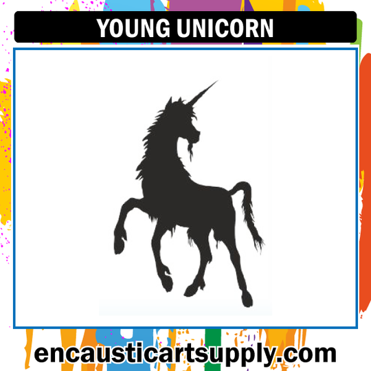 Encaustic Art Rubber Stamp - Young Unicorn